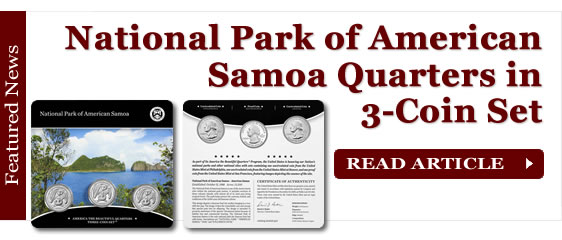 National Park of American Samoa Quarters in Three-Coin Set