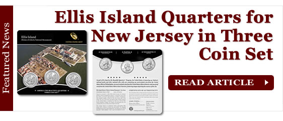 Ellis Island Quarters for New Jersey in Three-Coin Set