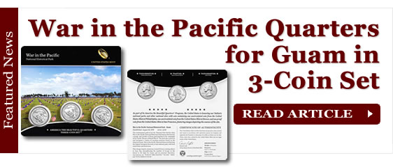 War in the Pacific Quarters for Guam in Three-Coin Set