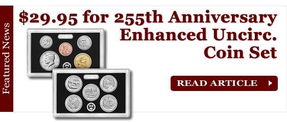 $29.95 for 2017-S 225th Anniversary Enhanced Uncirculated Coin Set